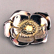 Artist Signed Big Sterling Silver Flower Pin Pendant