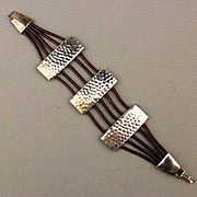 Modernist Bracelet Hand Hammered Sterling Silver - Leather