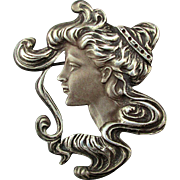 1970s English Sterling Silver Art Nouveau Style Girl Pin Pendant by Ari D. Norman