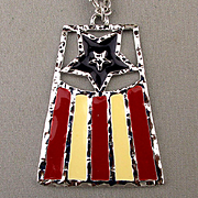 1976 Stars n Stripes FLAG Pendant Necklace by Emmons Spirit of '76