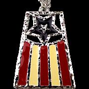 1976 Stars n Stripes FLAG Pendant Necklace by Emmons Spirit of '76