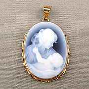 14K Gold Mother and Baby Agate Cameo Pendant Charm