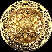 1980s Dominique Aurientis Paris Large Gold-Tone Openwork Pin Brooch Pendant