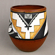 Signed FINA Native American Pottery Jar Pot Santa Clara Pueblo Polychrome