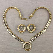 Vintage Carolee Faux Ancient Roman Coin Necklace - Earrings Set