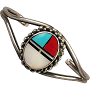 Vintage Zuni Inlay Sterling Silver Cuff Bracelet