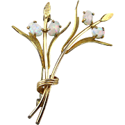 Wispy Krementz Gold-Filled Branch Pin w/ Opal Buds