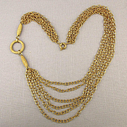 Multi Goldtone Chains Necklace w/ Unique Side Design