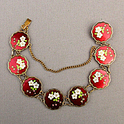 Vintage Red Enamel Cloisonne Bracelet Flower Links