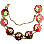 Vintage Red Enamel Cloisonne Bracelet Flower Links