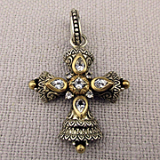 Barbara Bixby 18K Sterling White Topaz Cross Pendant Enhancer