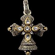 Barbara Bixby 18K Sterling White Topaz Cross Pendant Enhancer