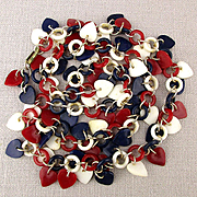 Patriotic Red White Blue HEARTS Charm Necklace
