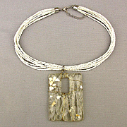 Clear Lucite Wired Pendant Glass Seed Pearl Necklace