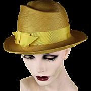 Vintage 1950s Frank Olive Super Fine Natural Straw Hat