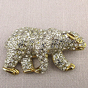 Figural Rhinestone Covered Bear Pin Brooch