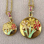 Pair of Enamel Flower Locket Necklaces...For Mom...For Girl