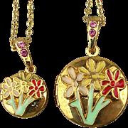 Pair of Enamel Flower Locket Necklaces...For Mom...For Girl