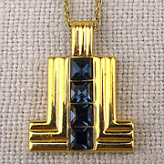 Modernist LANVIN ~L~ Signature Rhinestone Pendant Necklace