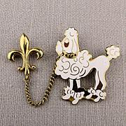 Vintage 2-Piece Enamel French Poodle Pin w/ Fleur de Lis
