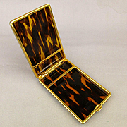 Vintage Spain Lucite Faux Tortoise Shell Cigarette Case