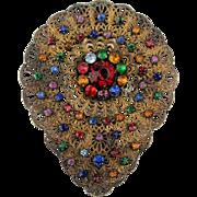 Czech Art Deco Gilded Filigree Jeweled Fur Dress Clip c1930