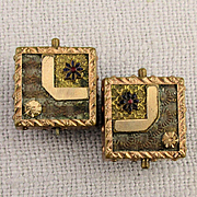 Victorian 1875 Gold-Filled Cufflinks Etched Textured Design