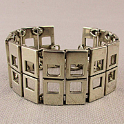 Modernist Sterling Silver Holey Link Bracelet