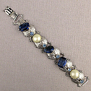 1950s Fun Jeweled Link Bracelet - Rhinestones w/ Faux Pearls