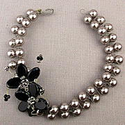 Fab Glass Pearl w/ Stone Flower Necklace - Unique Wired Collar