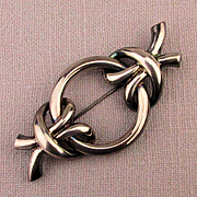 Modernist Charles Krypell Sterling Silver Bow-Tied Pin Brooch