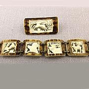 Intricate Austrian Hand-Carved Elk Horn Set - Bracelet - Pin