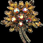 Great Big Rhinestone Flower Pin Amber w/ AB Stones