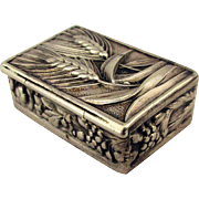 Old Sterling Silver Pillbox w/ Etched Palm Fronds - Fruit Box