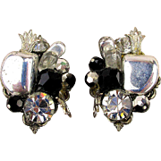 Signed Alice Caviness Jeweled Clip Earrings Rhinestones - Chrome - Glass