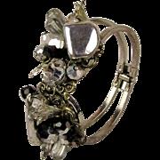 1950s Alice Caviness Jeweled Clamper Bracelet - Rhinestone Chrome Glass