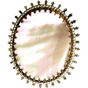 Old Mother-of-Pearl Gilt Pin / Pendant w/ Undulating Surface
