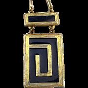 1974 ESTEE LAUDER Royal Enamel Solid Perfume Pendant Necklace Book Piece