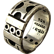 Taxco Sterling Silver Wide Band Ring w/ Shadowbox Designs
