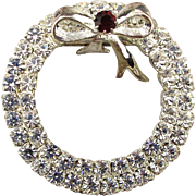 Eisenberg Ice Clear Crystal Rhinestone Christmas Wreath Pin