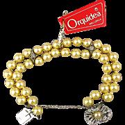 Sterling Majorca Two-Strand Faux Pearl Bracelet Spain