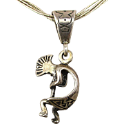 Kokopelli Flute Player Pendant Necklace - Sterling Silver Liquid Chains