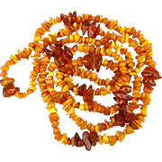 Long Egg Yolk to Honey Baltic Amber Bead Rope Necklace 84 Gr. - 58 Inches