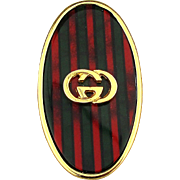 Classic GUCCI Logo Money Clip Red / Green Signature Stripe