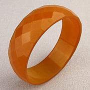 1930s Bakelite Multi Faceted Bangle Bracelet Apricot