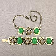 Selro Demi Parure Necklace - Bracelet Set - Asian Princess Face Lucite Cabs