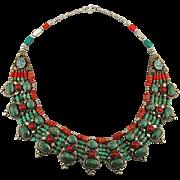 Lavish Tibetan Silver Necklace - Turquoise & Coral