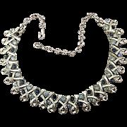 Signed 1950s CORO Rhinestone Ribbon Necklace