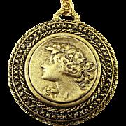 Yochi Victorian Style Gilded Medallion Pendant Necklace