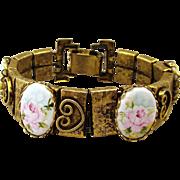 Antiqued Goldtone Bracelet w/ Painted Porcelain Roses